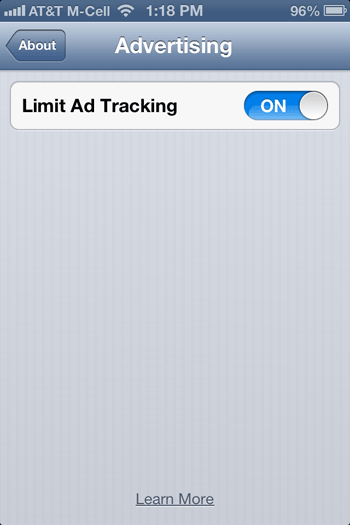 Enable 'Limit Ad Tracking' in iOS 6