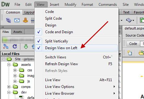 Change Split Code View Location in Dreamweaver