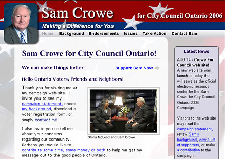 Crowe for Council web site